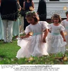 Rose and Tatiana Schlossberg, flower girls at the wedding of their cousin Anthony Radziwill