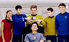 Star Trek cast and director goofing off.