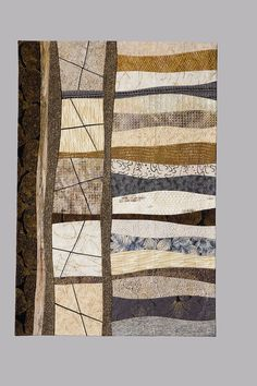 "Fractures 2 Crossroads, 27 x 39.75"", by Sandra Palmer Ciolino. Commercial cotton fabrics; silk, cotton, viscose and metallic threads."