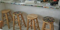 Comic strip counter trim with stools (and clutter).