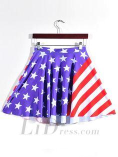 Hot Digital Star Stripe Digital Print Skirt Skt1161