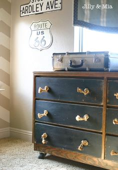 Funky Junk Interiors: wood frame, painted drawers, and rope handle.  Too Dark, but I kind of like the idea