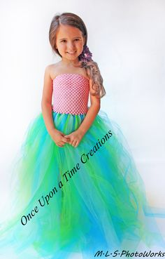 The Little Mermaid Inspired Pink Princess Tutu Dress Birthday Outfit, Photo Prop, Halloween Costume 12M 2T 3T 4T 5T - Disney Ariel Inspired. $58.99, via Etsy.