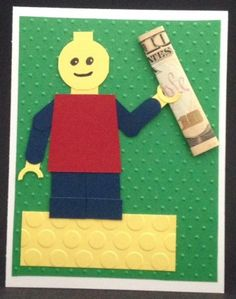Legos card with $10 bill for a 10-year old