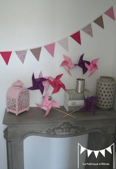 sur commande banderole guirlande fanions rose fuchsia violet rose poudr - Guirlande Fanion Chambre Bebe