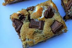 S'Mores Bars... No bonfire necessary to cook these.  Maybe try it with dark chocolate instead of Hersey's?
