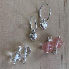 Silver Sleepers & Cherry Quartz, Rock Crystal , Heart Charm Earrings