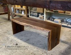 "Live Edge walnut waterfall coffee table, custom made to order (shown here - 50""L x 17""-21""W, $970) custom handcrafted furniture in the heart of Amish country - www.braunfarmtables.com Amish Country, Reclaimed Barn Wood, Living Room Designs, Entryway Tables, Waterfall, Design Ideas, Cozy, Rustic, Coffee"