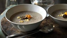 Use a mixture of wild mushrooms to make this luxurious soup really special.
