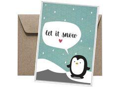 Set bestehend aus 10 Postkarten. Gibt's bei Etsy. Let It Snow, Let It Be, Etsy, Postcards, Ideas, Snow