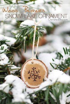Painted Wood Burned Snowflake Ornament via cherishedbliss.com