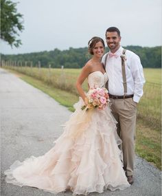 The above dress will be Lindsey's wedding dress. pink wedding ideas A New Country Chic Wedding Dress Pale Pink Long Ruffles Lace Summer Wedding Gown For 2015 Brides Chic Wedding Dresses, Country Wedding Dresses, Wedding Attire, Country Weddings, Wedding Outfits, Wedding Bouquets, Summer Wedding, Dream Wedding, Wedding Day