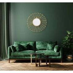 Everly Quinn Truly unique, this gold sunburst style framed mirror will bring a fresh look to any wall space. Allow the light to reflect through the mirror while the lines burst from every side. Pair with decorative accents of gold on a nearby table. Green Bedroom Walls, Green Accent Walls, Dark Green Walls, Accent Walls In Living Room, Living Room Mirrors, Living Room Color Schemes, Green Rooms, Living Room Colors, Living Room Decor