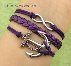 ON SALE-Infinity bracelet, anchor charm bracelet in silver--nautical bracelet,friendship gift,best chosen gift