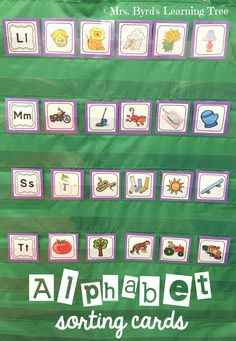 A must have set of letter-sound picture cards for kindergarten or preschool. Teaching Letter Sounds, Teaching Letters, Preschool Letters, Preschool Ideas, Teaching Ideas, Letter Sound Activities, Alphabet Activities, Literacy Activities, Letter Sound Games