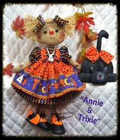 """Rag Doll Cat This is the pattern for my new """"Halloween Annie"""", another one of my """"SADDLE SHOE SWEETIES"""" with her best friend, her black cat """"Trixie""""! Annie is long (the bigger sis!, made of tea dyed muslin, and has a hand stitched face with button eyes. Headless Horseman Halloween, Shabby Chic Fall, Quilling Supplies, Halloween Doll, Halloween Ideas, Ann Doll, Primitive Patterns, Halloween Patterns, Raggedy Ann"""