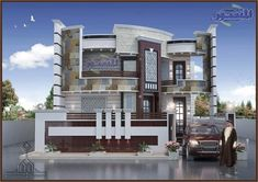 The exterior is the face of the house that everyone will see in the first part. Take a look at the world's most beautiful modern homes and find Best Modern House Design, Classic House Design, Modern Exterior House Designs, Minimalist House Design, 10 Marla House Plan, 2bhk House Plan, House Front Wall Design, House Main Gates Design, Front Elevation Designs