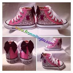 a754eb30c020 Custom pink rhinestone Converse Chuck Taylor shoes with bow. Shoes designed  by www.frommitoyou.com