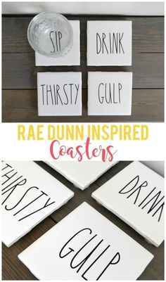 DIY Popsicle Stick Coasters - Busy Moms HelperDIY Popsicle Stick Coasters / a fun craft for adults, kids, teens or anyone! craft diy paint popsiclestick craftstick DIY Rae Dunn Inspired Coasters - Sunshine and MunchkinsThese Tile Crafts, Vinyl Crafts, Vinyl Projects, Tile Projects, How To Make Coasters, Diy Coasters, Homemade Coasters, Coffee Coasters, Easy Diy Crafts