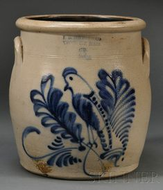 F. B. North Stoneware Crock with Cobalt-decorated Parrot and Leaves