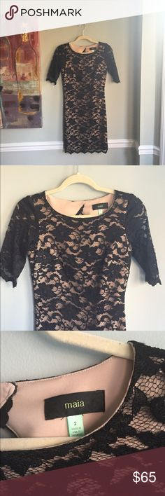 Maia black lace dress! Beautiful dress with nude shell and black lace. Excellent condition! Maia Dresses Midi