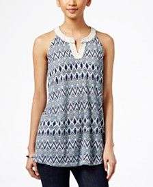 Style & Co. Split-Neck Sleeveless Top, Only at Macy's
