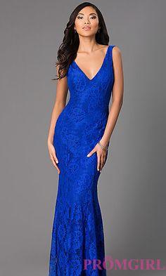 Sleeveless Floor Length V-Neck Lace Dress at PromGirl.com