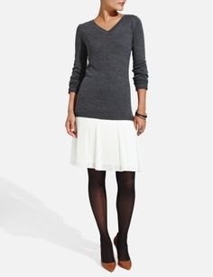 Pleated Skirt Sweater Dress from THELIMITED.com . . . I like this look, now I know what to do with my pleated skirts
