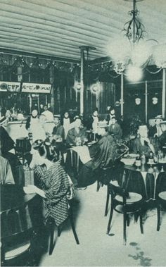First Beer hall ビアホール, 10 sen for 500ml, opened in 1899 - Ginza 銀座, Japan - 1900s Source Twitter @ oldpicture1900