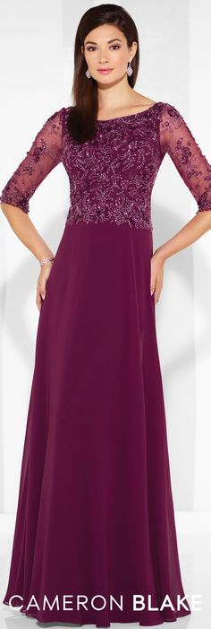 Formal Evening Gowns by Mon Cheri - Spring 2017 - Style No. 117603 - wine chiffon evening dress with beaded bodice and illusion 3/4 length sleeves