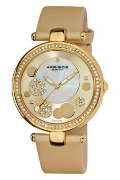 Venda Akribos / 13738 / Mulher / Couro e cerâmica / Relógio quartzo de couro e diamantes - Dourado. 88€(475€)