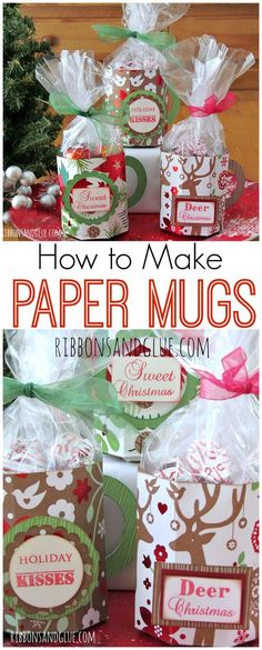 How to make Paper Mugs with a score board and double sided paper. Paper Mug tutorial. Create paper mugs with a score board and Christmas paper to fill up with Christmas treats to give and unique gifts. Christmas Paper Crafts, Diy Christmas Gifts, Christmas Treats, Christmas Projects, Holiday Crafts, Christmas Holidays, Christmas Wrapping, Homemade Christmas, Rustic Christmas