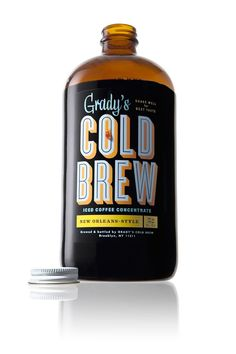 grady's cold brew iced coffee...liza, cyclone, futura, no1234567890, bello, eames century, titling gothic typefaces!