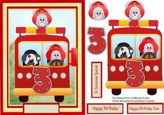 Lovely Fireman Mouse s 3rd Birthday  on Craftsuprint designed by Ceredwyn Macrae - A lovely card to make and give to any child on there 3rd birthday Fireman Mouse's 3rd Birthday a lovely card has three greeting tags and a blank one for you to choose the sentiment,  - Now available for download!