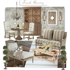 French Country Living by lilieshomeandgarden on Polyvore featuring interior, interiors, interior design, home, home decor, interior decorating, Riedel, Thibaut, Ethan Allen and Moët & Chandon