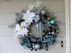 Christmas Wreath in Blue and White  by JulieButlerCreations
