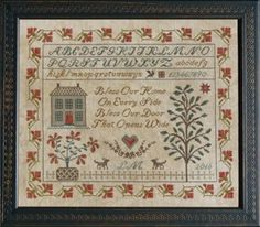 Please note this item is part of the Norden Online Show that opens August 8th. Bless Our Home is the title of this cross stitch pattern from La D Da that is stitched with Gentle Art Sampler threads