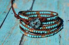 Amazon.com: Turquoise and Gold or Silver Leather Wrap Bracelet: Handmade