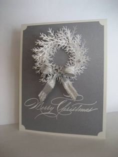 Silver and White Wreath by Tankerton - Cards and Paper Crafts at Splitcoaststampers