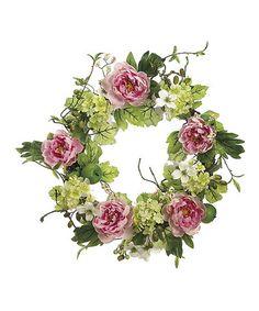 Look at this #zulilyfind! Peony & Hydrangea Wreath #zulilyfinds