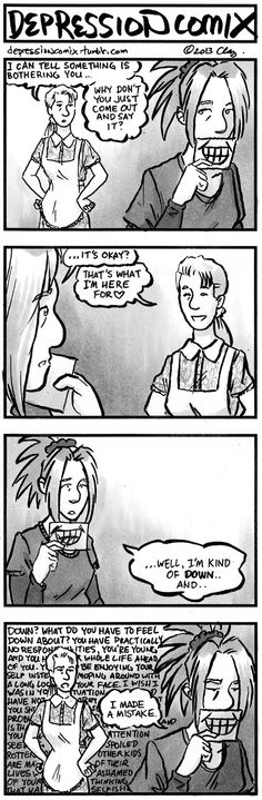depression comix : So freaking true. ;-; so much better to suffer in silence, or at least that's how it feels