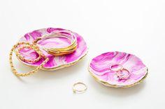 Sculpey FTW: DIY Marbled Jewelry Trays via Brit + Co.