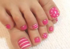 Image via Cute Red Toe Nail Art Designs, Ideas, Trends & Stickers 2015 Image … - Diy Nail Designs Pink Toe Nails, Pretty Toe Nails, Cute Toe Nails, Toe Nail Color, Summer Toe Nails, Polka Dot Nails, Feet Nails, Fancy Nails, Toe Nail Art