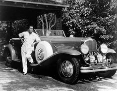 Tyrone Power with his Duesenberg...    If you like old stars and old cars, this site is for you!!
