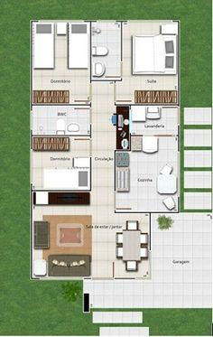 Planos de casa minimalista de un piso con 3 habitaciones