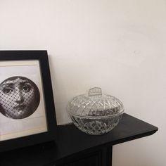 Vintage French Lidded Storage Clear Pressed Glass Pot Vanity Trinket Powder Bowl