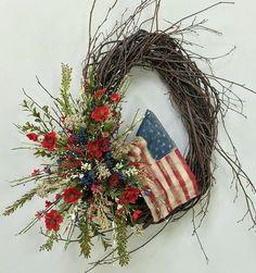 Americana Wreath Patriotic Wreath Memorial by CrookedTreeCreation Flag Wreath, Patriotic Wreath, Patriotic Crafts, Patriotic Party, July Crafts, 4th Of July Wreath, Memorial Day Wreaths, 4th Of July Decorations, Americana Decorations