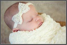 baby headband, newborn headband, infant headband, toddler headband, wedding headband, baptism headband. vintage lace bow headband. $7.50, via Etsy.