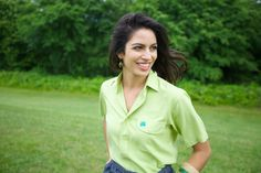 "The green ""grass"" short sleeve shirt can look good on almost anyone and in almost any setting."