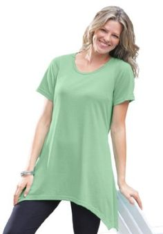 Woman Within Plus Size Top in soft knit, tunic length with pointed hem $17.99 - $22.99